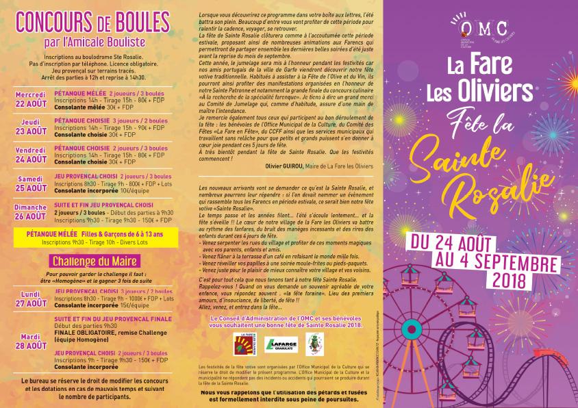 Du 24 août au 4 septembre, Fête de Sainte Rosalie