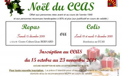 INSCRIPTIONS AU REPAS / COLIS DE NOEL DU CCAS