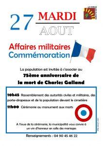 75ème anniversaire de la mort de Charles Galland @ Cimetière devant le monument aux morts