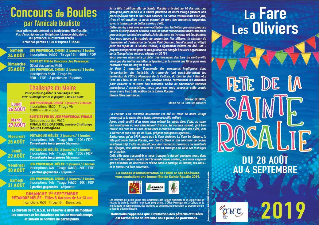 Calendrier Des Fetes De Village 64.Fete De Sainte Rosalie La Fare Les Oliviers