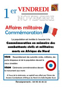 Commémoration en mémoire des combattants civils et militaires morts en Afrique du Nord @ Monument aux Morts - cimetière