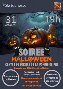 Soirée Halloween ouverte aux CM1/CM2 et collégiens @ Centre de loisirs de la Pomme de Pin
