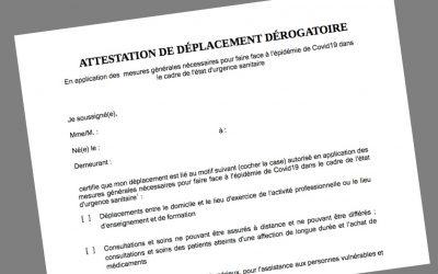 ATTESTATIONS DE DÉPLACEMENT COUVRE-FEU